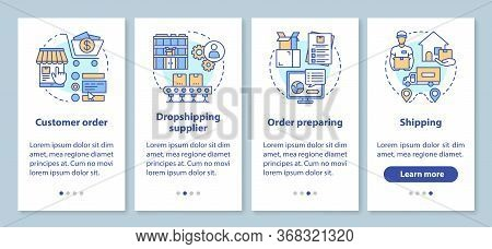Dropshipping Onboarding Mobile App Page Screen With Linear Concepts. Customer Order, Supplier, Shipp