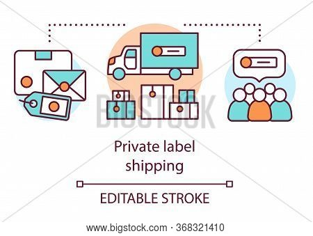 Private Label Shipping Concept Icon. Product Branding Idea Thin Line Illustration. Shipping Merchand