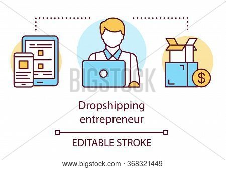 Dropshipping Entrepreneur Concept Icon. Delivery Service Worker Idea Thin Line Illustration. Busines