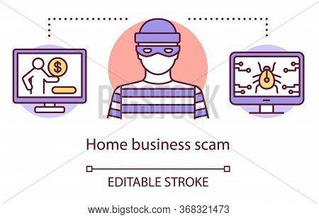 Home Business Scam Concept Icon. Unscrupulous Drop Shipper Idea Thin Line Illustration. Internet Fra