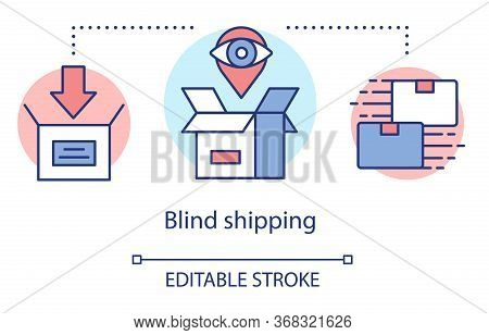 Blind Shipping Concept Icon. Merchandise Without Return Address Idea Thin Line Illustration. Hiding