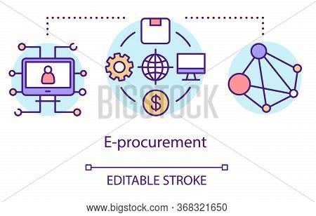 E-procurement Concept Icon. Supplier Exchange Idea Thin Line Illustration. Business To Business Purc