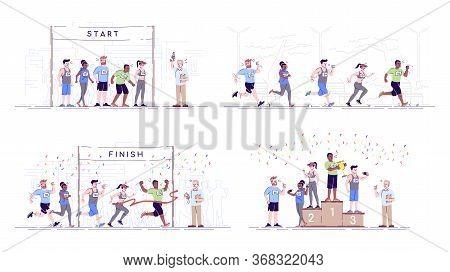 Marathon Flat Vector Illustrations Set. Competition Stages. Endurance Contest. City Running Champion