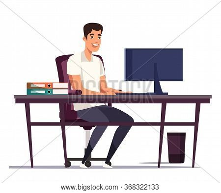 Cartoon Man Worker Sitting At Table And Typing On Computer Keyboard. Well Equipped Workplace. Archit