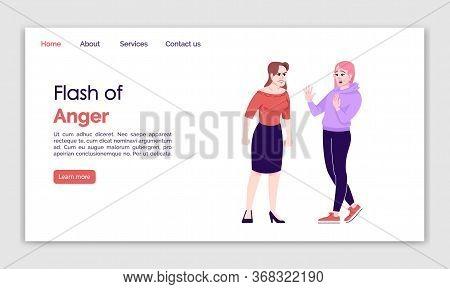 Flash Of Anger Landing Page Vector Template. Female Quarrel Website Interface Idea With Flat Illustr