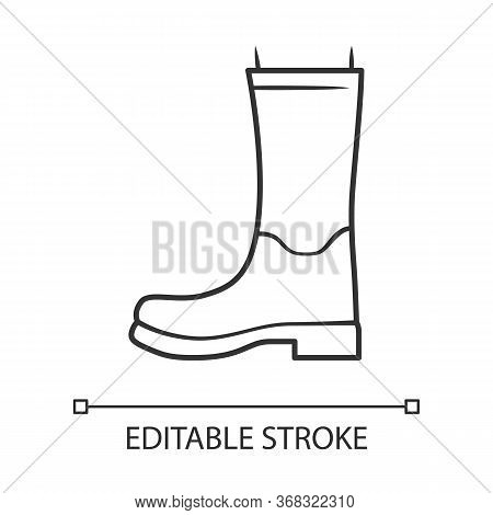 Women Wellies Linear Icon. Rubber Boots For Fall, Spring Rainy Season. Wellingtons, Modern Shoes. Ed