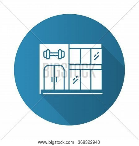 Gym Building Blue Flat Design Long Shadow Glyph Icon. Two-storey Construction With Double Door And P