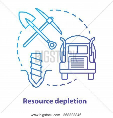 Resource Depletion Concept Icon. Natural Minerals Exhaustion Idea Thin Line Illustration In Blue. No