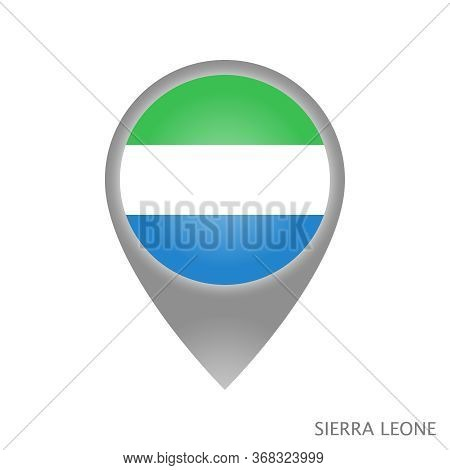 Map Pointer With Flag Of Sierra Leone. Colorful Pointer Icon For Map. Vector Illustration.