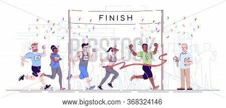 Marathon Finish Flat Vector Illustration. City Footrace. Runners In Final Of Competition. Endurance