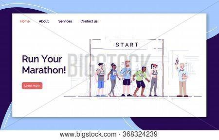 Run Your Marathon Landing Page Vector Template. City Footrace Website Interface Idea With Flat Illus