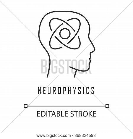Neurophysics Linear Icon. Nervous System, Human Brain Studying. Neuroscience Research. Cognitive Neu