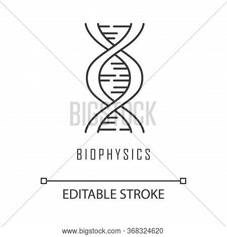 Biophysics Linear Icon. Genetics. Dna Helix Molecule Structure. Genome Scientific Studies. Chromosom
