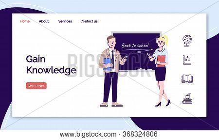 Educational Service Landing Page Template. Professional Teachers And Educators Website Interface Ide