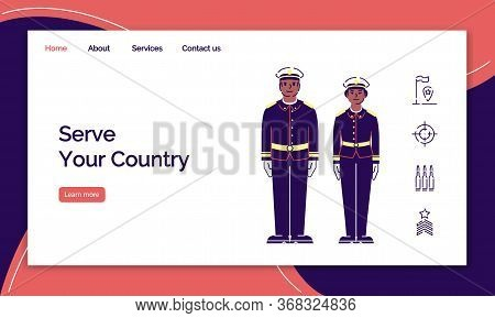 Army Service Landing Page Vector Template. Us Soldiers Website Interface Idea With Flat Illustration
