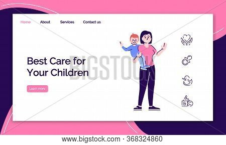 Childcare Service Landing Page Template. Babysitting Website Interface Idea With Flat Illustrations.