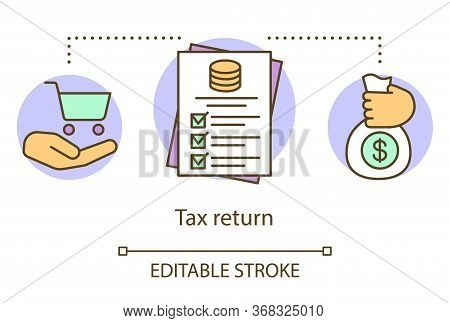 Tax Return Concept Icon. Filling In Revenue Documentation Idea Thin Line Illustration. Contribution