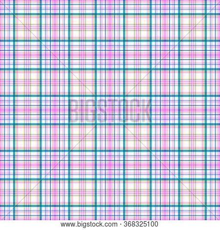 Bright Seamless Pinstripe Checkered Pattern. Stripes Of Azure, Pink And Yellow Colors, White Backgro