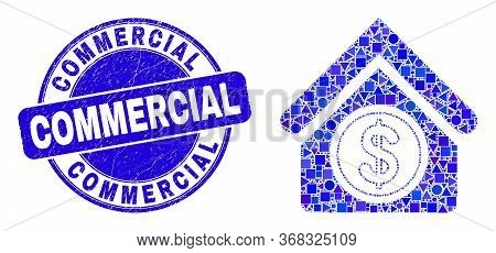 Geometric Commercial Building Mosaic Icon And Commercial Stamp. Blue Vector Rounded Distress Seal St