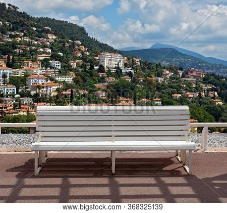 Panoramic View Of Grasse Town In The Southern France. It Is A City In The French Department Of Alpes