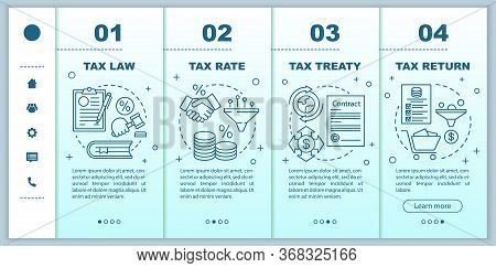 Taxes System Onboarding Mobile Web Pages Vector Template. Tax Rate, Return. Responsive Smartphone We