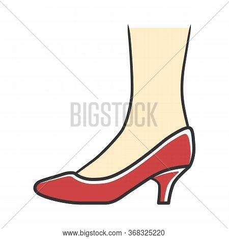 Kitten Heel Shoes Red Color Icon. Woman Stylish Formal Footwear Design. Female Casual And Formal Ret