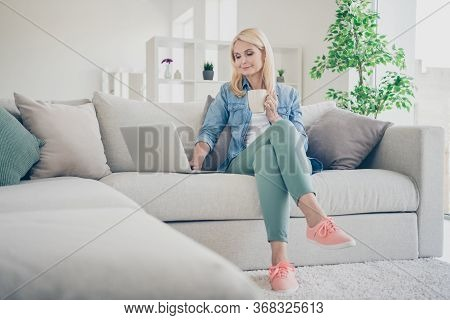 Photo Of Attractive Aged Mature Homey Domestic Lady Sitting Comfy Sofa Couch Drink Coffee Browsing N