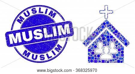 Geometric Church People Mosaic Pictogram And Muslim Seal Stamp. Blue Vector Rounded Textured Seal St
