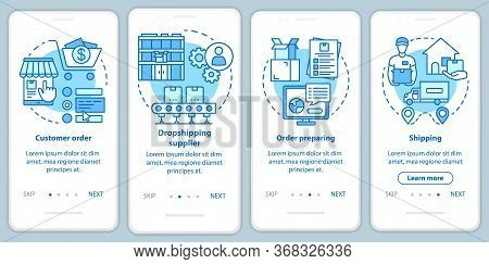 Dropshipping Blue Onboarding Mobile App Page Screen With Linear Concepts. Customer Order, Drop Ship