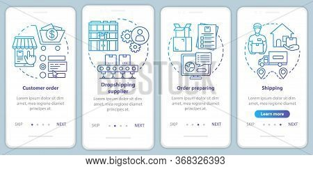 Dropshipping Blue Onboarding Mobile App Page Screen With Linear Concepts. Order Preparing, Supplier,
