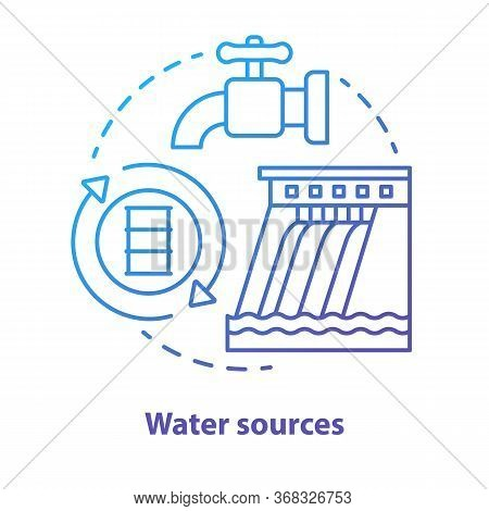 Water Sources Concept Icon. Drinking Water Supplies Idea Thin Line Illustration In Blue. Reasonable