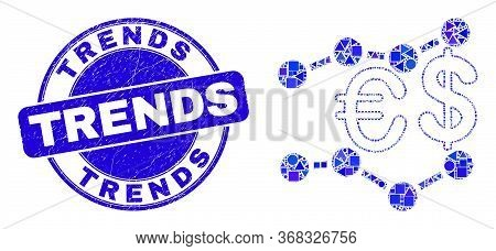 Geometric Financial Trends Mosaic Pictogram And Trends Stamp. Blue Vector Round Scratched Seal With
