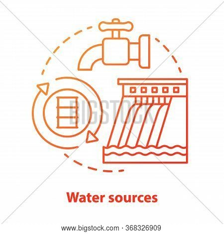 Water Sources Concept Icon. Drinking Water Supplies Idea Thin Line Illustration In Red. Reasonable U