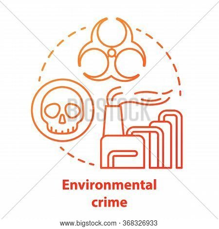 Environmental Crime Concept Icon. Ecological Disaster Idea Thin Line Illustration In Red. Industrial