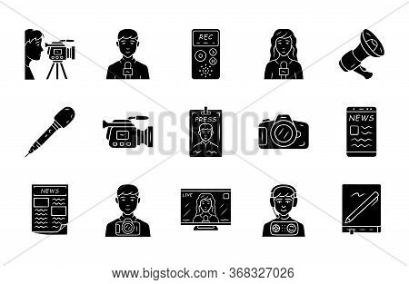Mass Media Glyph Icons Set. Press. Television, Radio Broadcasting. Taking An Interview, Photographin