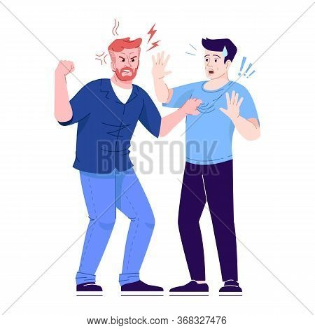Men Fight Flat Vector Illustration. Aggressive Male Behavior. Friends Conflict, Dispute. Angry And D