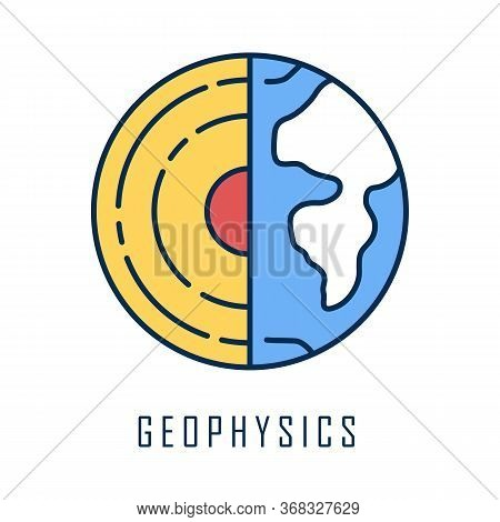 Geophysics Color Icon. Study Of Earth Crust And Core. Physics Branch. Inner Structure And Compositio