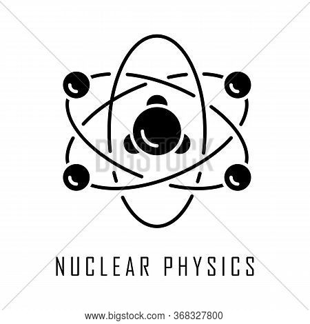 Nuclear Physics Glyph Icon. Atomic Structure Model. Electrons, Neutrons And Protons. Subatomic Molec