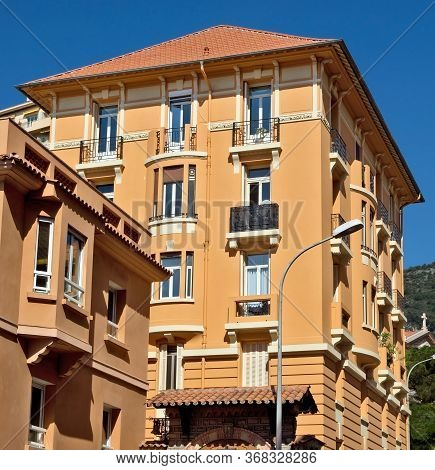 Architecture Of Residential Buildings Near The Train Station Monaco-ville.