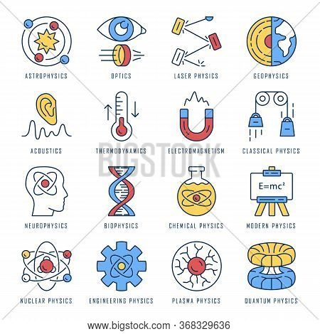 Physics Branches Color Icons Set. Physical Processes And Phenomenons. Classical, Modern And Quantum