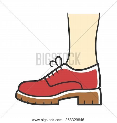Chunky Brogues Red Color Icon. Women Trendy Oxford Shoes Side View. Stylish Formal Lace Ups, Elegant