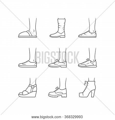 Women And Men Shoes Linear Icons Set. Female Summer And Autumn Elegant Footwear. Wedges, Loafers And
