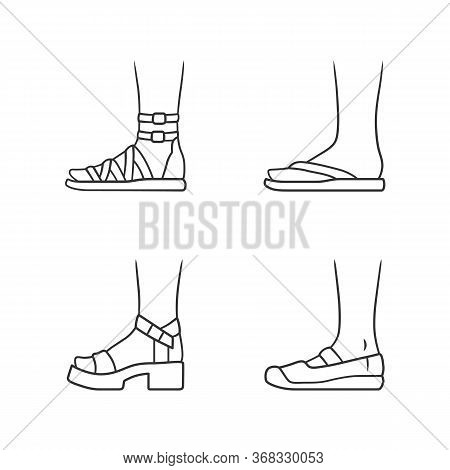 Women Summer Shoes Linear Icons Set. Female Elegant Formal And Casual Footwear. Gladiator Sandals, P