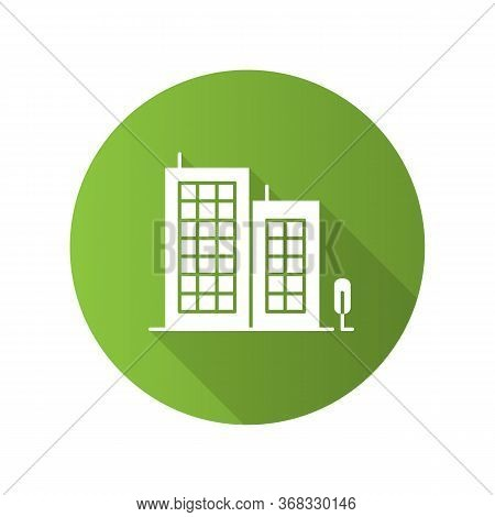 Multi-storey Building Green Flat Design Long Shadow Glyph Icon. Apartment Houses. Multistorey Housin
