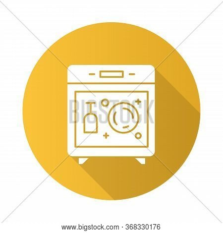 Dishwasher Yellow Flat Design Long Shadow Glyph Icon. Modern Kitchen Device. Automatic Dish Washer.