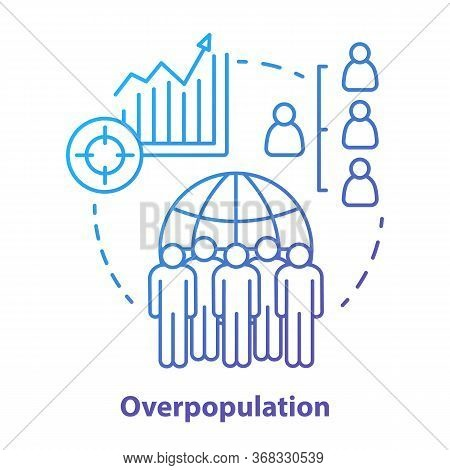Overpopulation Concept Icon. Planet Overcrowding Idea Thin Line Illustration In Blue. Increasing Num