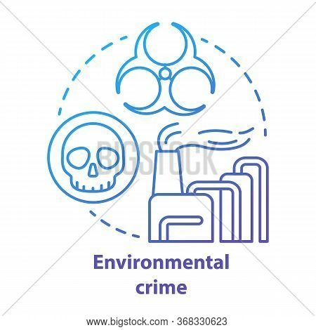 Environmental Crime Concept Icon. Ecological Disaster Idea Thin Line Illustration In Blue. Industria