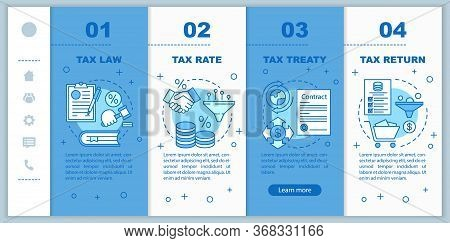 Taxes System Onboarding Mobile Web Pages Vector Template. Tax Law, Treaty. Responsive Smartphone Web