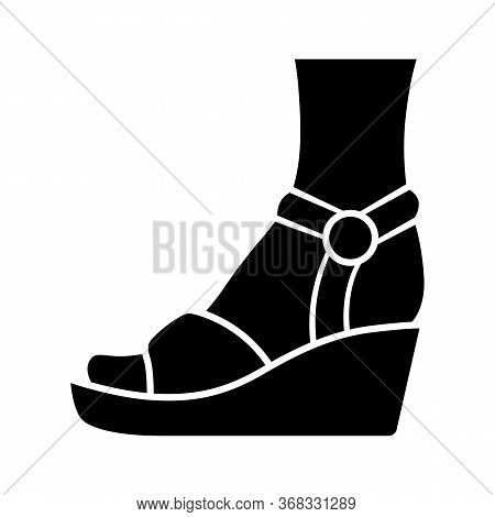 Wedges Glyph Icon. Woman Stylish Footwear. Female Casual Shoes, Sandals With Platform Heel. Fashiona