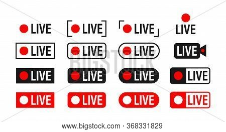 Set Of Live Streaming Icons. Broadcasting. Red Symbols And Buttons Of Live Stream, Online Stream. Ve